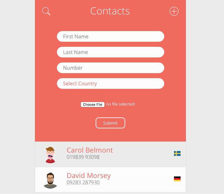 contact list app